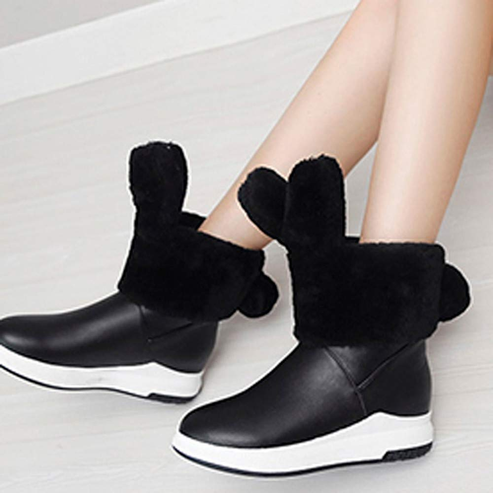 GIFC Fashion Winter Womens Flat Rabbit Ears Shoes Keep Warm Round-Toe Proof Snow Water Boots