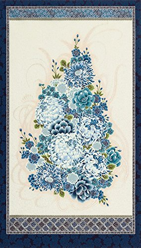 Floral Bouquet: Blue Asian Japanese Kaufman Fabric Panel (24 Inches by 44 Inches) - Bouquet Panel
