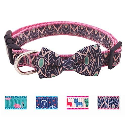 azuza Soft Comfy Dog Collar Bowtie Cute Adjustable Collar Neck 18'' - 26'' Geometric Pattern for Large Dog - 18' Nylon Collar