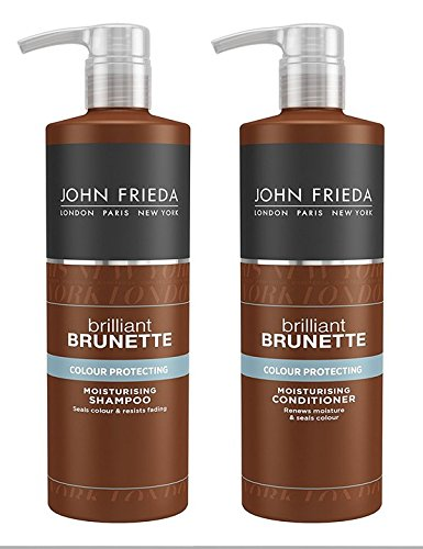 John Frieda Brilliant Brunette Colour Protecting Moisturising Shampoo and Conditioner 500 ml Duo Set