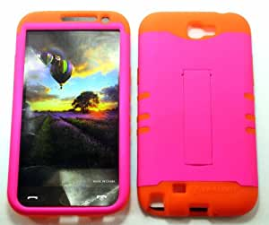 SAMSUNG GALAXY NOTE 2 CASE NEON HOT PINK OR-A006-FE HEAVY DUTY HIGH IMPACT HYBRID COVER ORANGE SILICONE SKIN I317