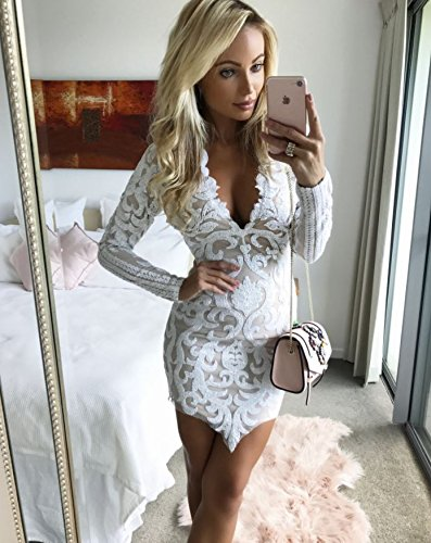 13dd3901b7f1 Image Unavailable. Image not available for. Color: Erovy Long Sleeve Lace Dress  Sexy Women Mini Party ...