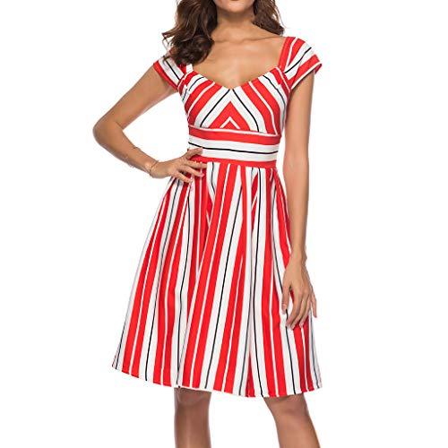 - Women Stripe Cocktail Dress - Ladies Vintage Scoop Neck Cap Sleeve Empire Waist Swing Midi Dresses - Elegant Back Low Knee Length Dress (L, Red)