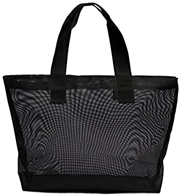Large Nylon Tote Bag For Shopping, Beach, Sports, Gym - With Double Top Zipper And Long Handles - Heavy Nylon Canvas With Lining