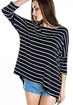 Urban CoCo Women's Black White Striped Loose T-shirt Hi-low Style