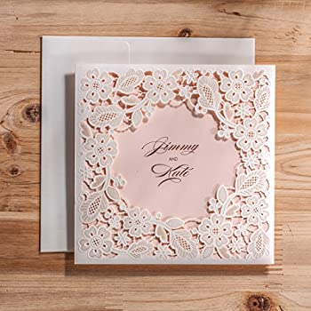 Wishmade 50x White Tri Fold Laser Cut Square Wedding Invitations Cards Kits  With Hollow Floral Favors Bridal Shower Engagement Birthday Baby Shower ...