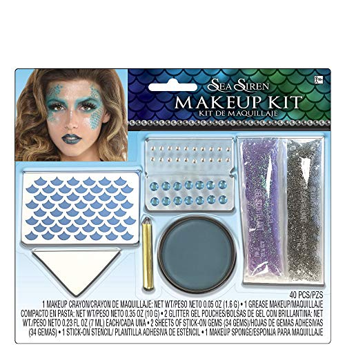 Suit Yourself Sea Siren Mermaid Makeup Kit for Adults, Includes Grease Cream Makeup, Crayon, Gemstones, and More ()