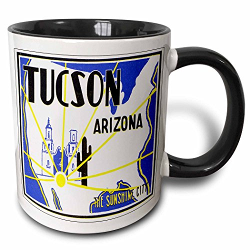 Mug Tucson Coffee - 3dRose 180213_4 Tucson Arizona The Sunshine City Vintage Luggage Label Two Tone Mug 11 oz Black