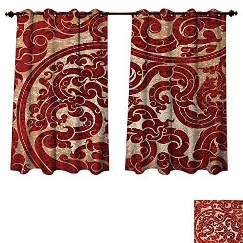 Anzhouqux Antique Blackout Curtains Panels for Bedroom Thai Culture Vector Abstract Background Flower Pattern Wallpaper Design Artwork Print Decorative Curtains for Living Room Ruby W55 x L45 inch