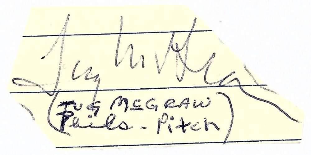 Tug McGraw Signed Autographed 1x1.5 Vintage Cut Signature Beckett BAS