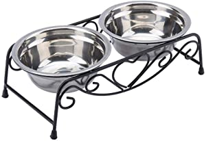 Maxmartt Pet Feeder,Stainless Steel Double Dog Cat Food Water Bowls Feeder Dishes Shelf Stand