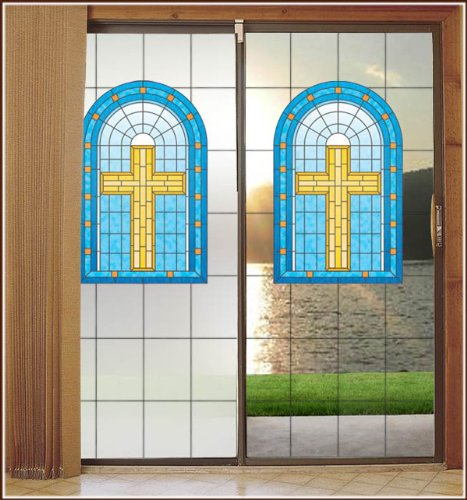 Grace Christian Stained Glass with Frosted Background Privacy Decorative Window Film 32inch x 86inch