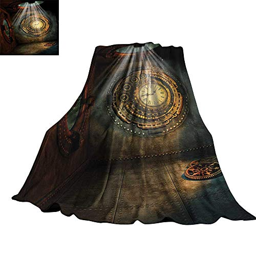 "RenteriaDecor Fantasy,Personalized Blankets Fantasy Scenery with Clock Dream Sky Rays from The Ceiling Fictional Artwork Custom Blankets 90""x70"""