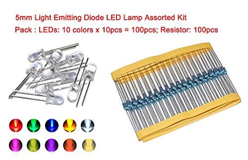Price comparison product image Cofufu 5mm Light Emitting Diode LED Lamp Assorted Kit for Arduino Warm White Red Yellow Green Blue Orange UV Pink Lights 100pcs (10 colors x 10pcs) + Free 100pcs Resistors