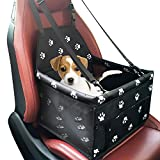 Pet Car Booster Seat Carrier,Portable Foldable Pet Car Seat Cover Carrier with Seat Belt for Dog Cat Puppy Kitty up to 25lbs (Black)