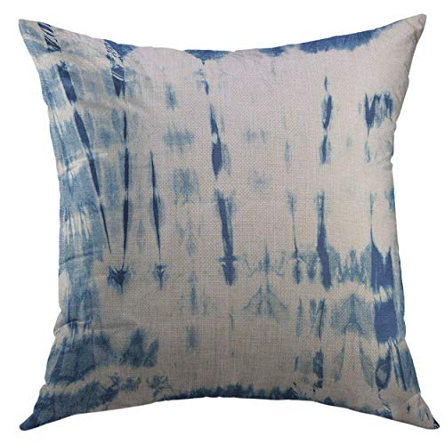 Mugod Decorative Throw Pillow Cover for Couch Sofa,Blue Ink Abstract Batik Tie Dyed of Indigo Color on White Hand Dye Fabrics Shibori Dyeing Navy Artistic Home Decor Pillow Case 18x18 - Fabric Dyed Hand Batik