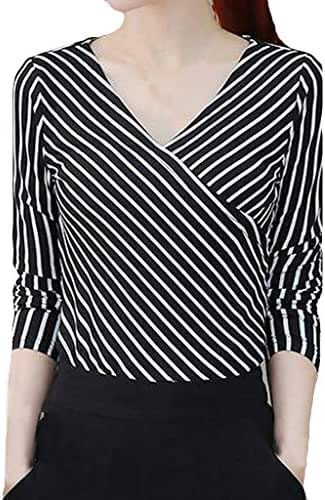 NOMUSING Shirts for Women Plus Size Fashion Blouse Ladies Long Sleeved Irregularity with V-Neck Stripe Tunic Outerwear