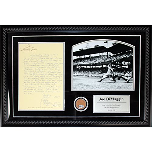 - Joe DiMaggio Framed Diary Collage with Dirt from Yankee Stadium