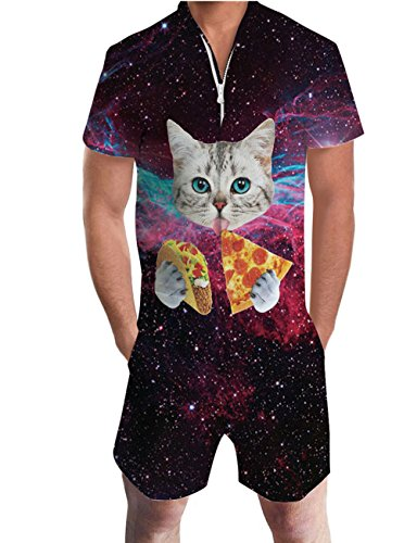 Uideazone Pizza Cat Graphic Romper Men's Short Sleeve Jumpsuits Casual Cargo Pants Slim Fit Beach Party Overalls