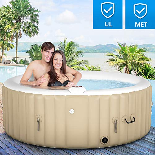 Goplus 4-6 Person Outdoor Spa Inflatable Hot Tub for Portable Jets Bubble Massage Relaxing w/Accessories Set (4 Person, White)
