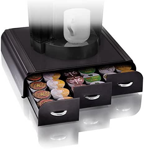 Mind Reader 'Anchor' Triple Drawer single serve coffee pod holder with free milk frother included, Black