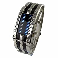 Youyoupifa Trendy Design Long Lasting Shockproof Army Style LED Watch with Alloy Bracelet and 28 Blue LED Lights for Time & Date Display from YouYouPifa