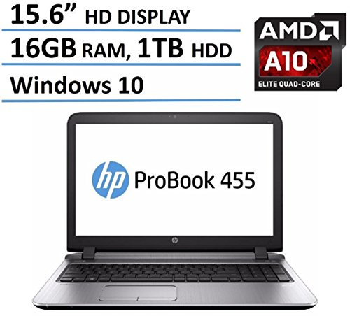 HP Probook 455 15.6-Inch High Performance Laptop (AMD Quad-Core A10-8700P Processor, 16GB RAM, 1TB HDD, Windows 10 64bit)