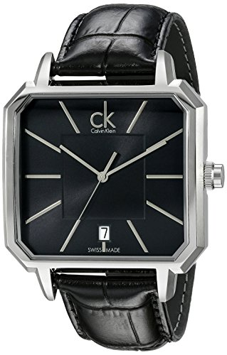[Calvin Klein Men's K1U21107 Concept Square Stainless Steel Watch with Black Leather Band] (Black Square Face Stainless Steel Watch)