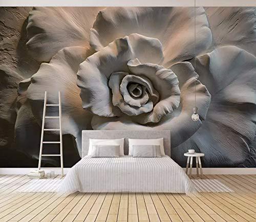 Wall Mural 3D Wallpaper Embossed Rose Vintage Modern Wall Paper for Living Room Bedroom Tv Wall ()