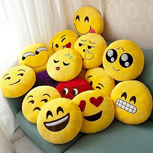 JZK 2 x Cojín Emoji Sonrisa + cojín Emoji Sonrisa Llorando, Almohada Emoji Emoticon Relleno Suave Juguete de Peluche