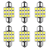 DE3175 LED Bulb, 31mm Festoon LED Bulb DE3021 3022 for Map Dome Door Courtesy Light -White 6500K (Pack of 6)