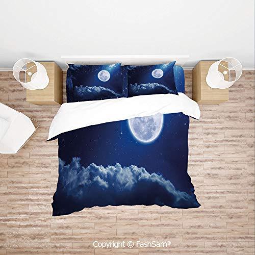 FashSam Duvet Cover 4 Pcs Comforter Cover Set Full Moon Mysterious Falling Stars Heavens Lovely Clouds Elements of Universe for Boys Grils Kids(King) (Set Comforter Tinkerbell Full)