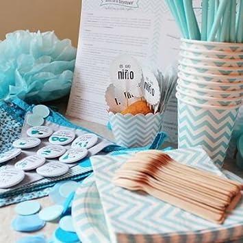 Baby Shower fiesta Niño - Incluye un pack completo para menú de 12 invitados + listado de juegos e ideas originales para la celebración: Amazon.es: Bebé