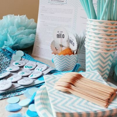 Baby Shower Fiesta Nino Incluye Un Pack Completo Para Menu De 12
