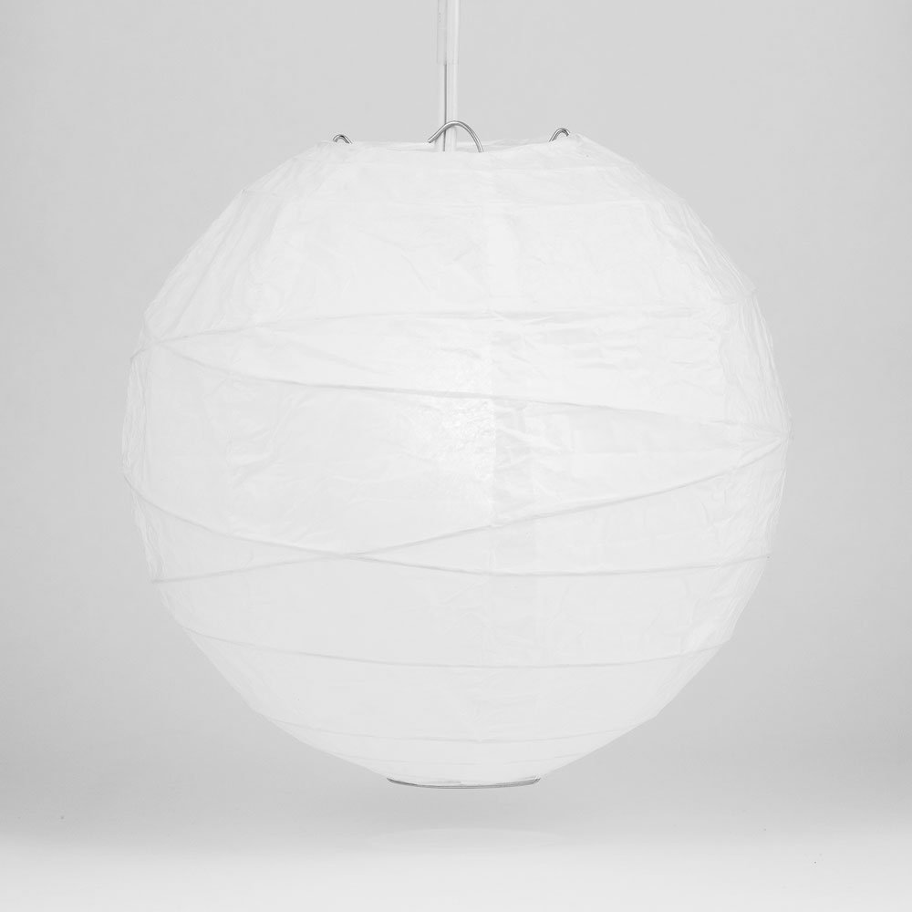 Quasimoon PaperLanternStore.com 16'' White Round Paper Lantern, Crisscross Ribbing, Hanging Decoration