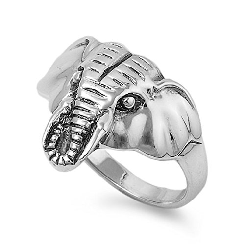 Princess Kylie 925 Sterling Silver Elephant Head Ring Size 8 (Rings Elephant For Sale)