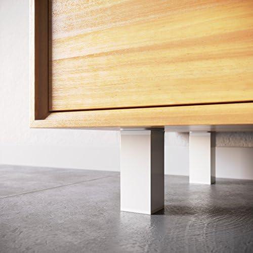 Patas para muebles, 4 piezas, altura regulable   Perfil cuadrado: 40 x 40 mm   Sossai® MFV1-WH   Diseño: Blanco   Altura: 60mm (+20mm)   Tornillos incluidos: Amazon.es: Bricolaje y herramientas