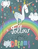 Cute Rainbow Unicorn 2017-2018 18 Month Academic Year Planner with Inspirational