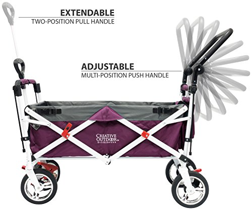 Creative Outdoor Push Pull Collapsible Folding Wagon Stroller Cart for Kids   Foldable Canopy w/Sun & Rain Shade   Beach Park Camping Tailgate & Garden   Purple/Magenta