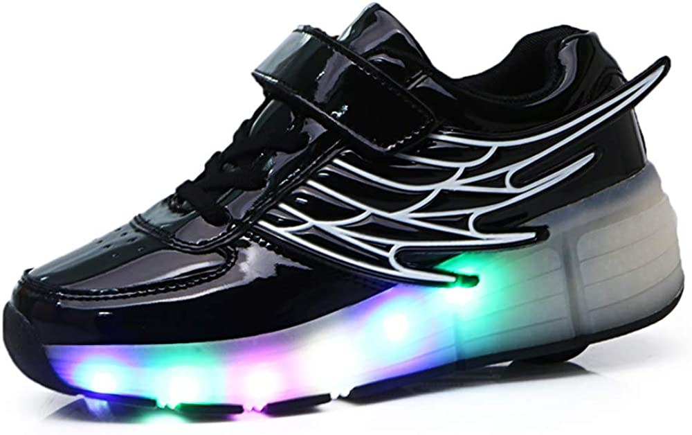 ROKIDS LED Fashion Sneakers Boys Girls Roller Shoes with Wings Shoes for Kids Black 5 Big Kid