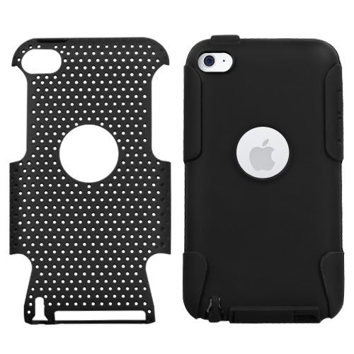 Snap-On Protector Hard Case for Apple iPod Touch 4th Generation / 4th Gen - Black/Black Hybrid Design