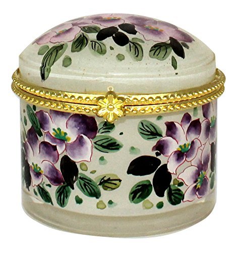 Hand Painted Purple Lotus Flower Jewelry Case - JB-421