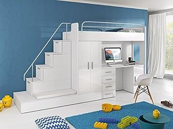 Etagenbett Mit Schubladen Treppe : Hochbett tomi schreibtisch schrank treppe und gästebett mit