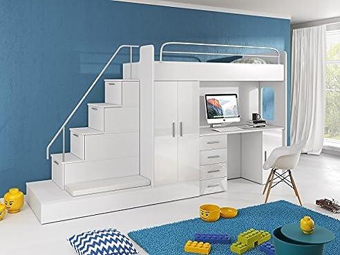 Hochbett mit schreibtisch und schrank  Hochbett TOMI - Schreibtisch, Schrank, Treppe und Gästebett mit ...