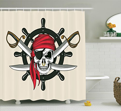 Ambesonne Skulls Decorations Collection, Pirate Skull with Scarf Crossed Swords Violence Sea Sailing Risky Adventurous Image, Polyester Fabric Bathroom Shower Curtain Set, 75 Inches Long, Dimgrey Red (Sailing Items Decorative)