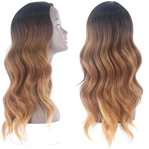 Price comparison product image X-TRESS Body Wave Synthetic Lace Front Wigs Ombre Brown Chrismas Gift Glueless Heat Resistant Side Part Long Wavy Wigs 20Inch L-part Lace Front Wig For Women (R3213)