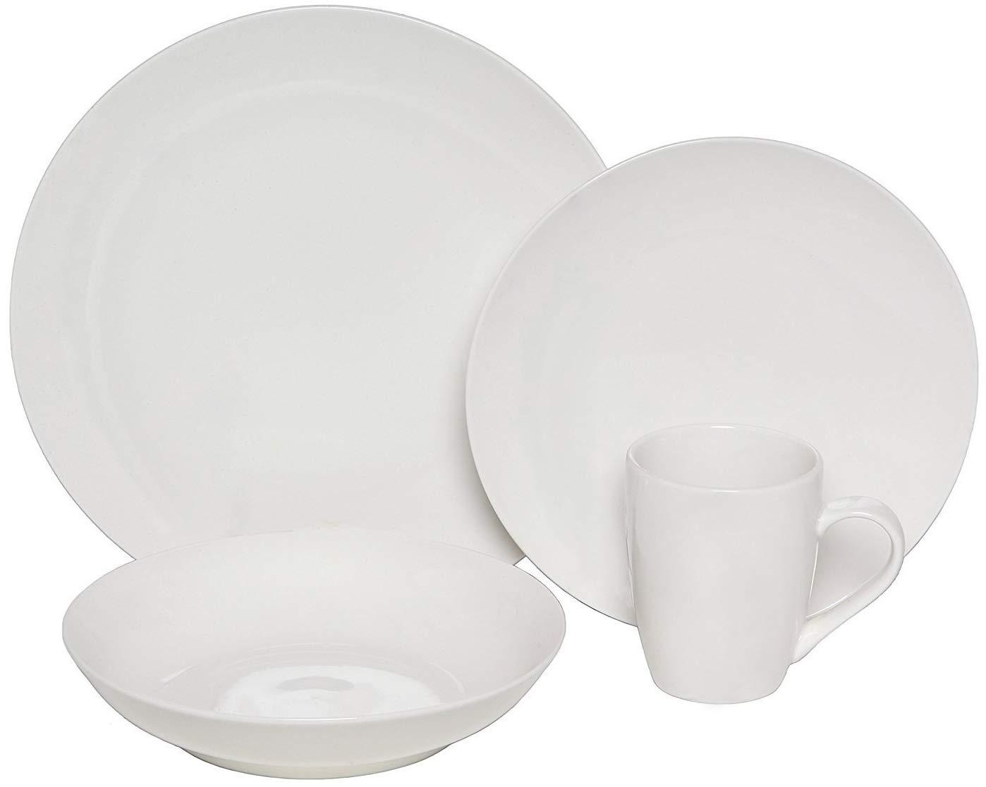 Melange Coupe 16-Piece Porcelain Dinnerware Set (White) | Service for 4 | Microwave, Dishwasher & Oven Safe | Dinner Plate, Salad Plate, Soup Bowl & Mug (4 Each)