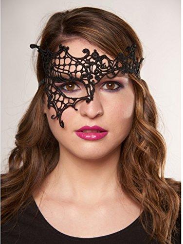Masada Goods, Black Victorian Lace Eye Mask with Satin Ribbons Ties (Victorian Face Masks)