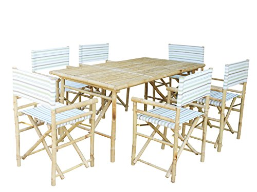 Zew SET-015-0-19 Bamboo Rectangular Table with 6 Director Chairs ()