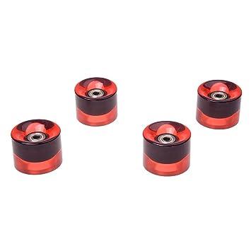 Ruedas de monopatin - SODIAL(R)Conjunto de 4 Ruedas de monopatin 6 cm de diametro y 4,5 cm de ancho para Penny rojo claro: Amazon.es: Deportes y aire libre